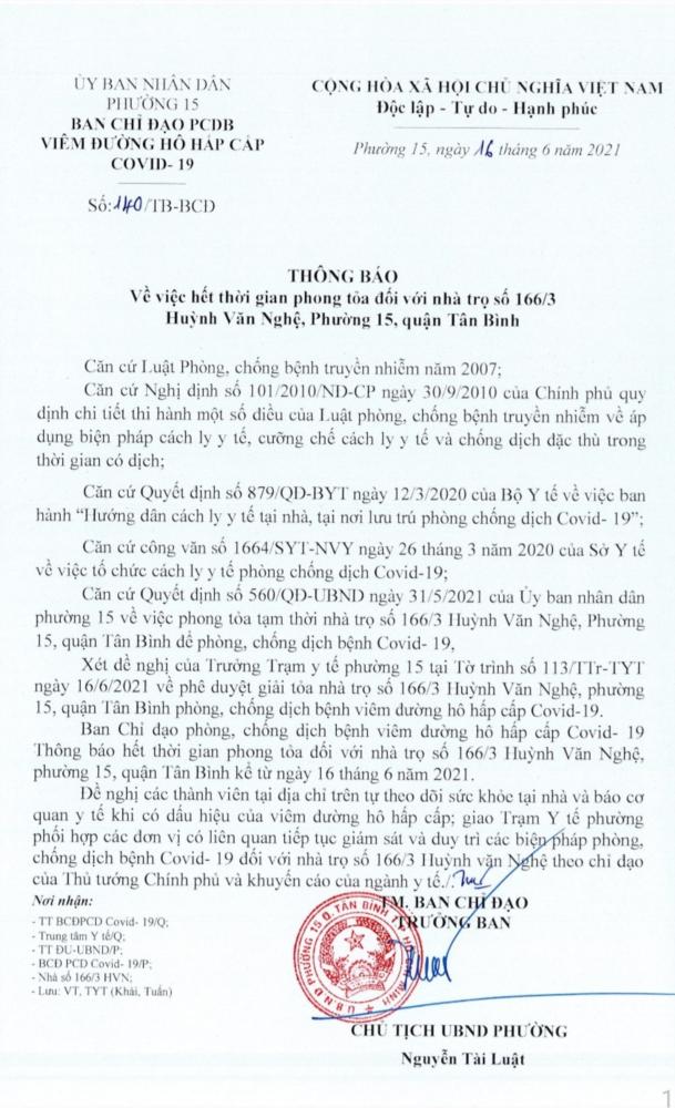 PHƯỜNG 15, Q. TÂN BÌNH GỠ BỎ PHONG TỎA  TẠI HẺM 166 HUỲNH VĂN NGHỆ VÀ HẺM 83 PHẠM VĂN BẠCH